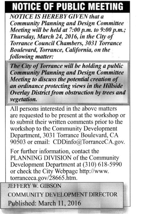 Notice for March 24 hearing on an ordinance to protect hillside views from obstruction by trees and vegetation