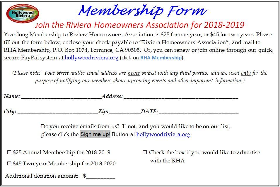 RHA Membership | Riviera Homeowners Association